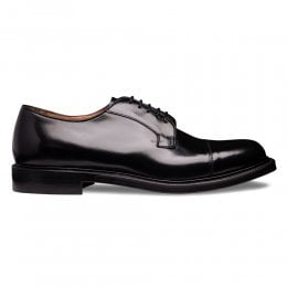 Epsom II Capped Derby in Black Hi-Shine Leather