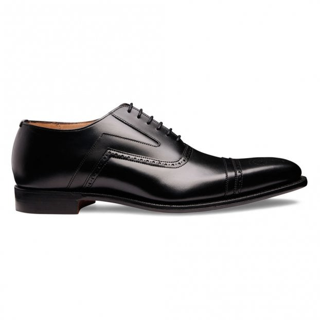 Cheaney Ethan Capped Oxford in Black Calf Leather