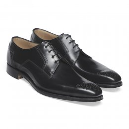Ewan Derby in Black Polished Hi-Shine Leather