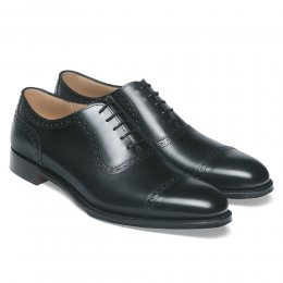Fenchurch R Oxford in Black Calf Leather | Dainite Rubber Sole