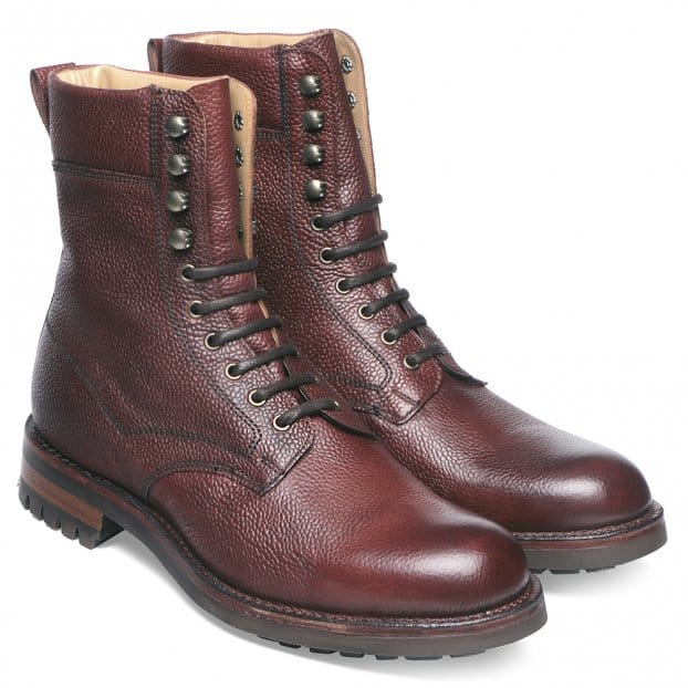 Cheaney Fiennes Derby Veldtschoen Country Boot in Burgundy Grain Leather
