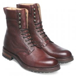 Fiennes Derby Veldtschoen Country Boot in Burgundy Grain Leather