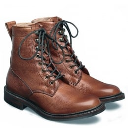 Florence R Ladies Fur Lined Country Boot in Mahogany Grain Leather
