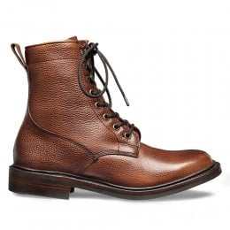 Florence R Fur Lined Derby Boot in Mahogany Grain Leather