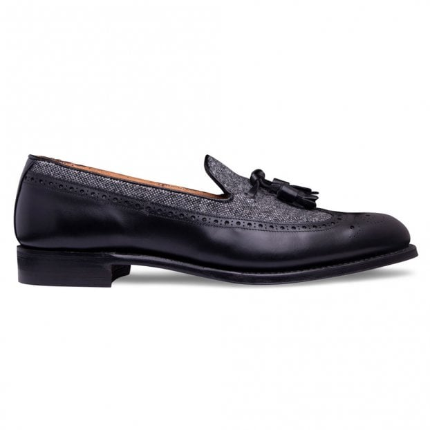 Cheaney Frederick Tassel Loafer in Black Calf Leather/Donegal Tweed