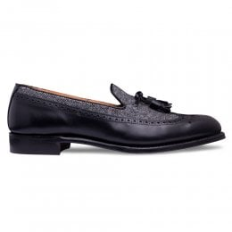 Frederick Tassel Loafer in Black Calf Leather/Donegal Tweed