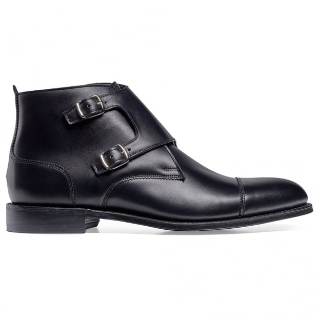 Cheaney Freeman Burnished Double Buckle Boot in Black Calf Leather
