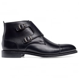 Freeman Burnished Double Buckle Boot in Black Calf Leather