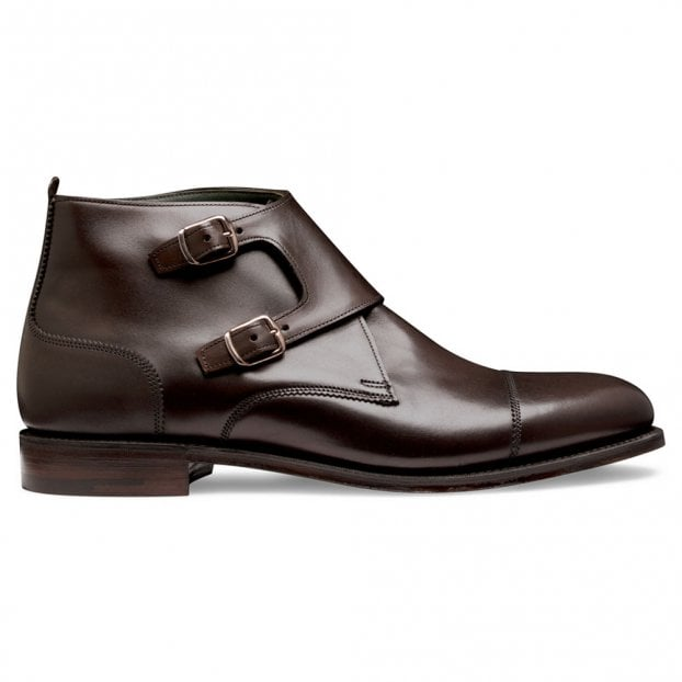 Cheaney Freeman Burnished Double Buckle Boot in Mocha Calf Leather