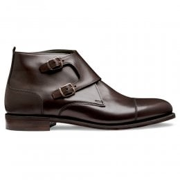 Freeman Burnished Double Buckle Boot in Mocha Calf Leather