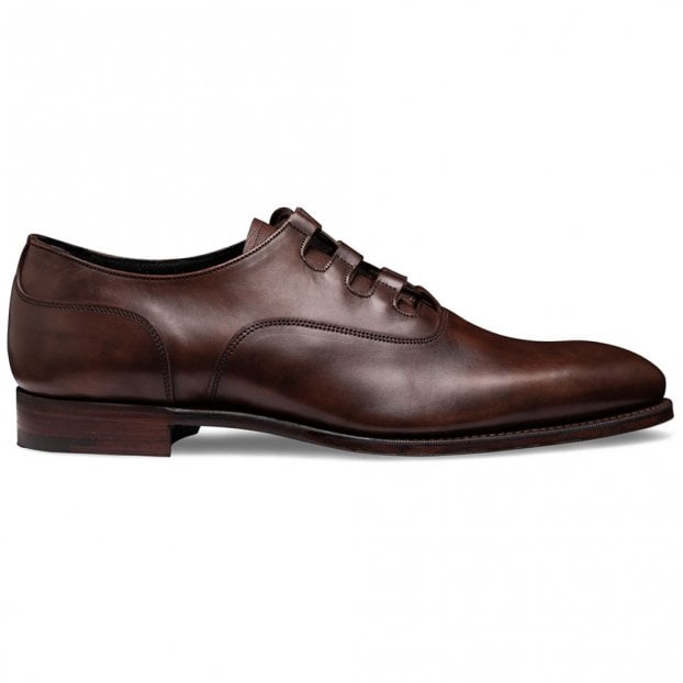Cheaney Fulham Ghillie Lace Oxford In Bronzed Espresso Calf Leather