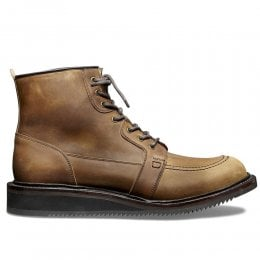 Gateshead Apron Derby Boot in Tan Waxy Pull Up Leather