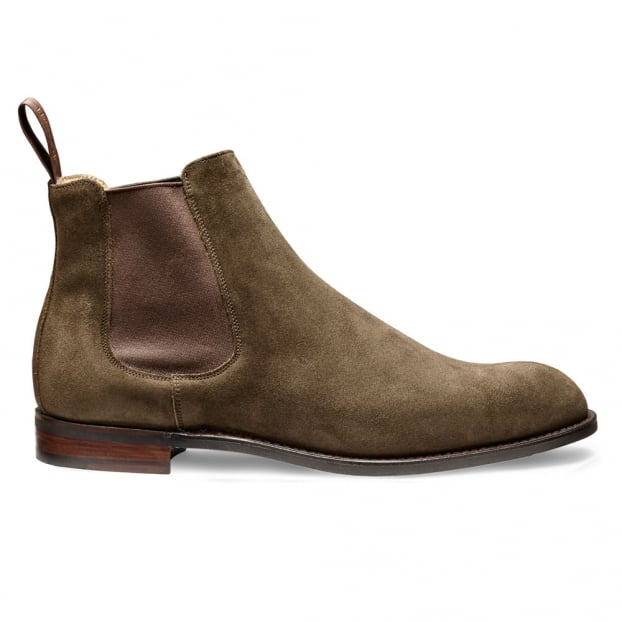Cheaney Godfrey D Chelsea Boot in Khaki Green Suede