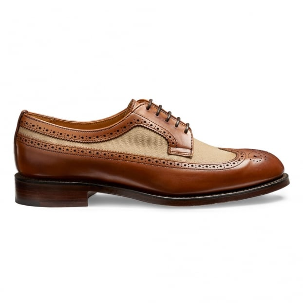 Cheaney Grace Long Wing Two Tone Brogue in Burnished Dark Leaf/Sand Canvas