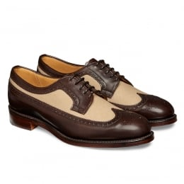 Grace Long Wing Two Tone Brogue in Burnished Mocha/Sand Canvas