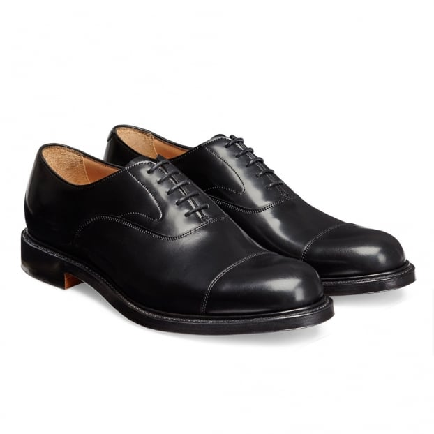 Cheaney Greenwich Capped Oxford in Black Hi-Shine Leather