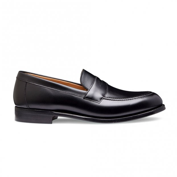 Cheaney Hadley Penny Loafer in Black Calf Leather