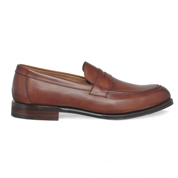 Cheaney Hadley Penny Loafer in Burnished Dark Leaf Calf Leather