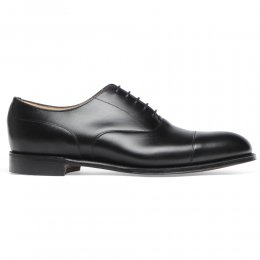 Harrington Capped Oxford in Black Calf Leather | Leather Sole