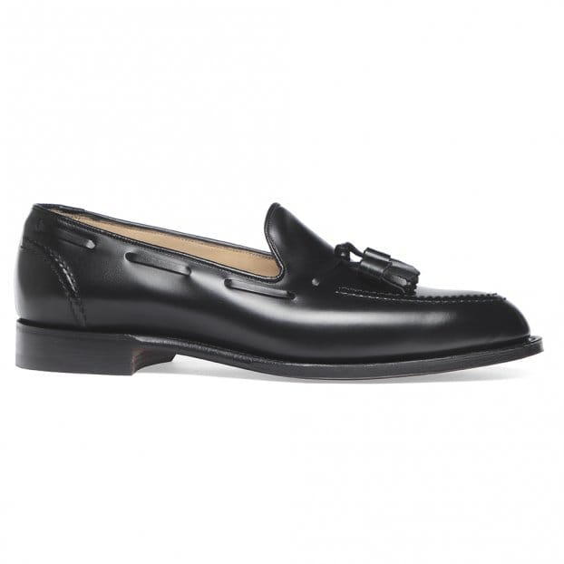 Cheaney Harry Tassel Loafer in Black Calf Leather