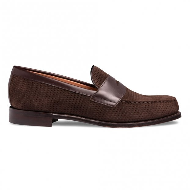 Cheaney Hayden Penny Loafer in Mocha Calf Leather/Brown Suede