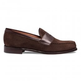 Hayden Penny Loafer in Mocha Calf Leather/Brown Suede
