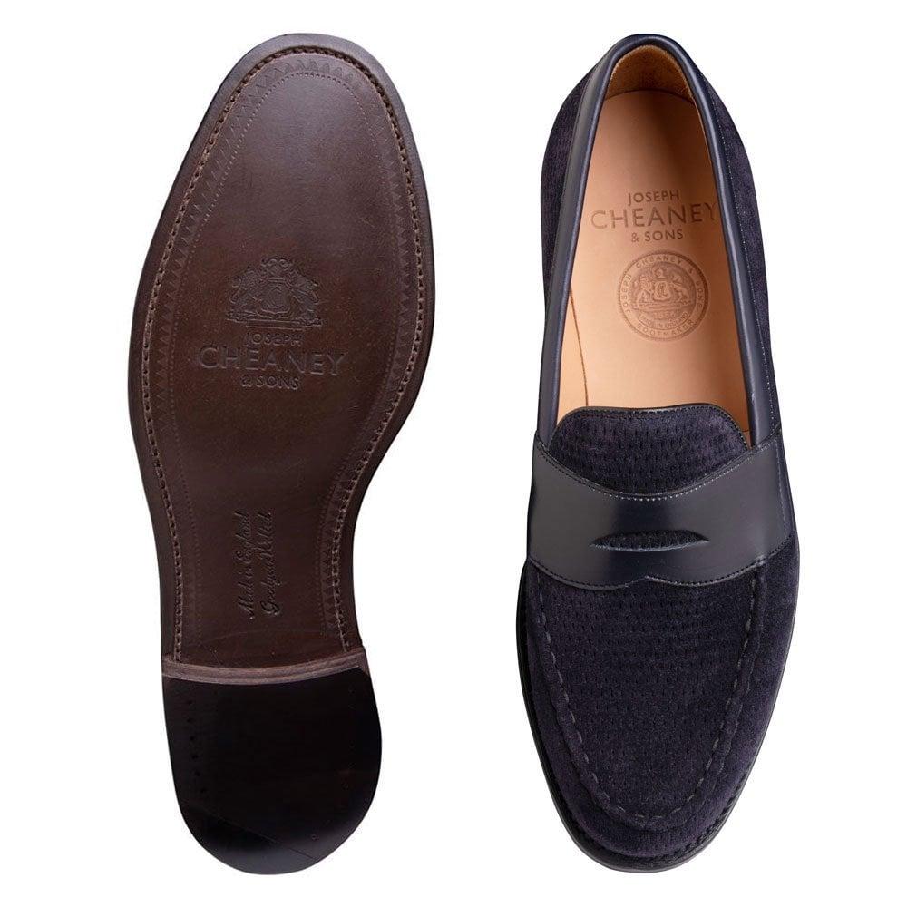 Navy Blue Leather Loafer