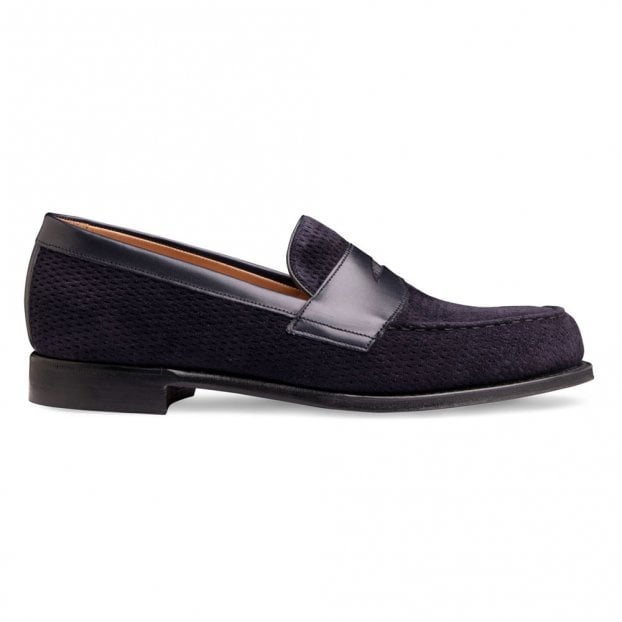 Cheaney Hayden Penny Loafer in Navy Calf Leather/Navy Suede