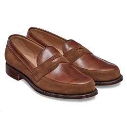 Henry II Penny Loafer in Conker Calf Leather/Fox Suede