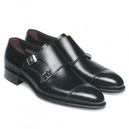 Holyrood Double Buckle Monk Shoe in Black Calf Leather
