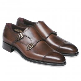 Holyrood Double Buckle Monk Shoe in Bronzed Espresso Calf Leather