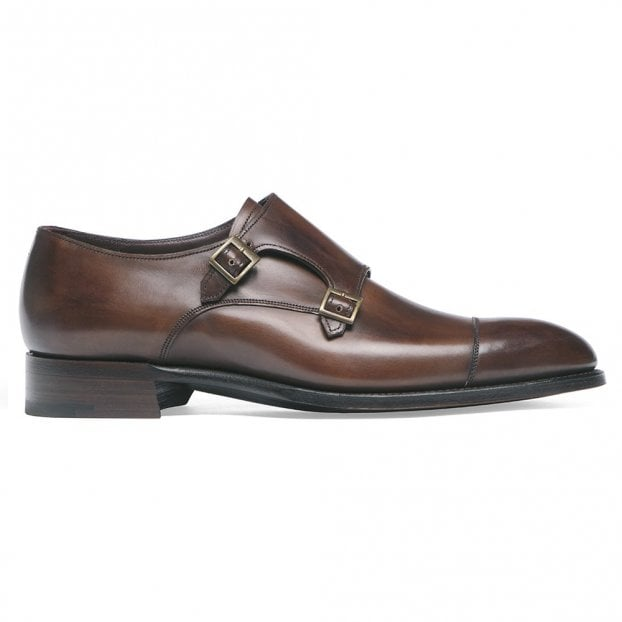 Cheaney Holyrood Double Buckle Monk Shoe in Bronzed Espresso Calf Leather