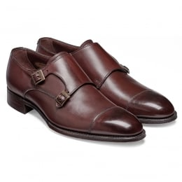 Holyrood Double Buckle Monk Shoe in Burgundy Calf Leather