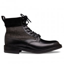 Hope R Derby Boot in Black Calf Leather/Black Herringbone Fabric