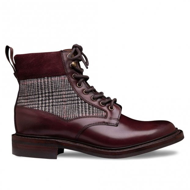 Cheaney Hope R Derby Boot in Burgundy Calf Leather/Prince of Wales Check