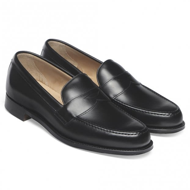 Cheaney Hudson Penny Loafer in Black Calf Leather