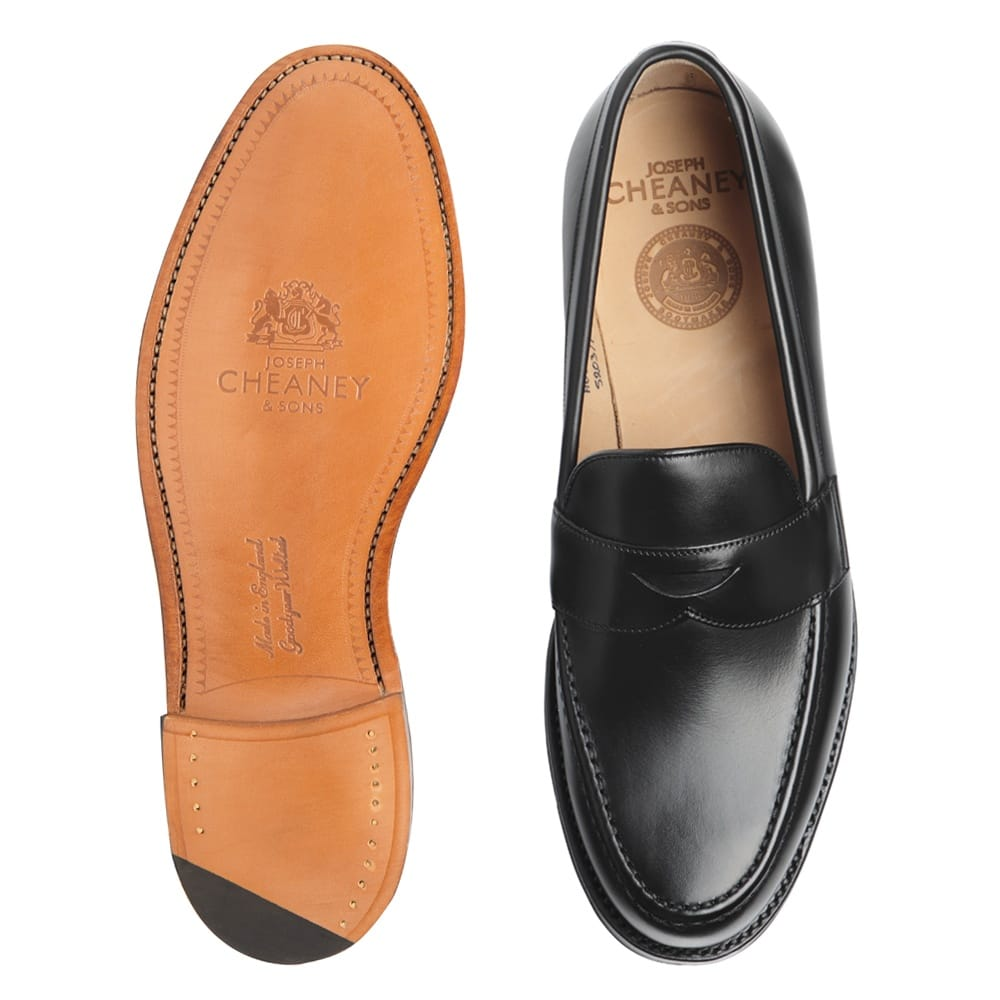 96a2314dd451 Hudson Penny Loafer in Black Calf Leather