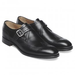 Humphrey III Wingcap Brogue Buckle Monk in Black Calf Leather