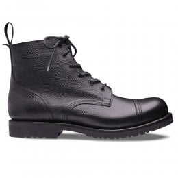 Hurricane GL Military Style Ankle Boot in Black Grain Leather