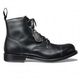 Hurricane R Military Style Ankle Boot in Black Calf Leather