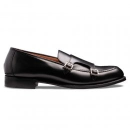 Hutchinson Double Buckle Monk Shoe in Black Calf Leather
