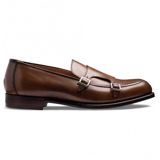 Cheaney Hutchinson Double Buckle Monk Shoe in Mahogany Calf Leather