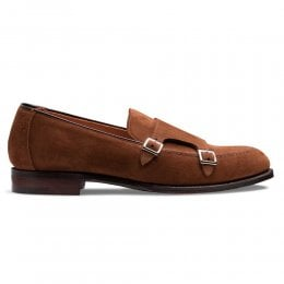 Hutchinson Double Buckle Monk Shoe in Rustique Suede