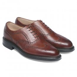 Hythe Wingcap Oxford Brogue in Mahogany Grain Leather