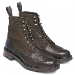 Irvine Fur Lined Derby Country Boot in Walnut Grain Leather/Plough Suede