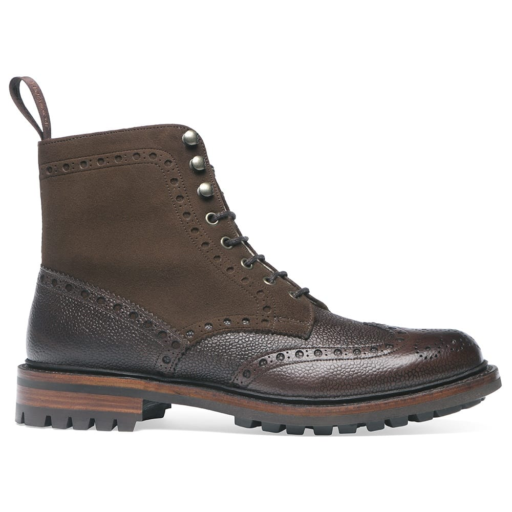 be9c2e43df3 Cheaney Irvine Fur Lined Wingcap Derby Boot in Walnut Grain Leather/Plough  Suede