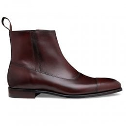 Isleworth Zip Ankle Boot in Burnished Burgundy Calf Leather