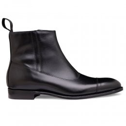 Isleworth Zip Up Ankle Boot in Black Calf Leather