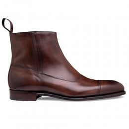 Isleworth Zip Up Ankle Boot in Bronzed Espresso Calf Leather