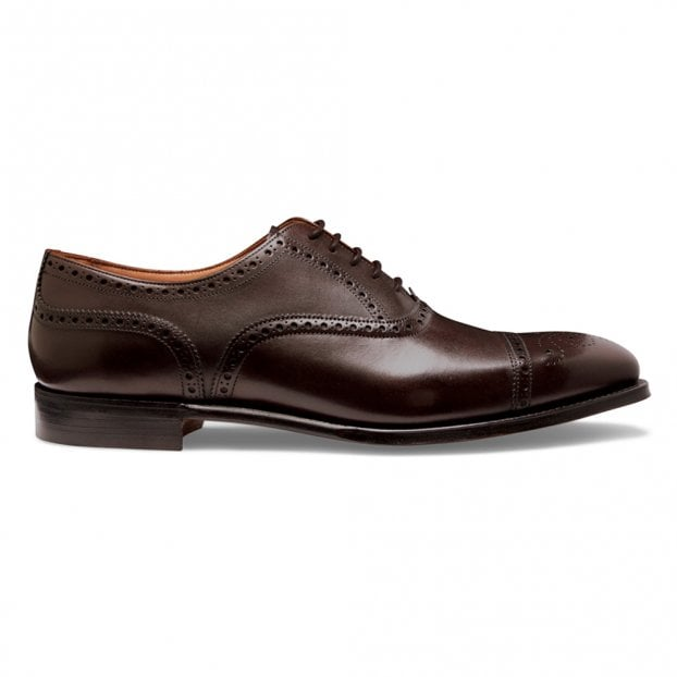 Cheaney Islington Semi Brogue in Burnished Mocha Calf Leather